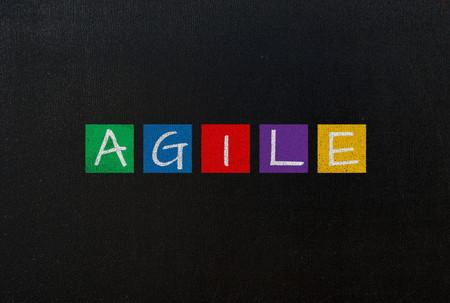 agile: agile on black chalk board concept