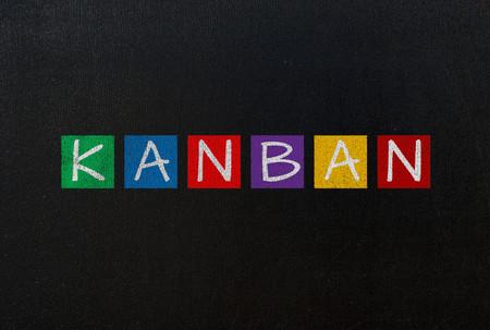 kanban on black chalk board concept