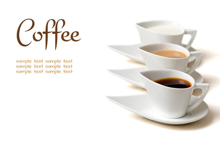 coffee cups: coffee concept with three coffee cups