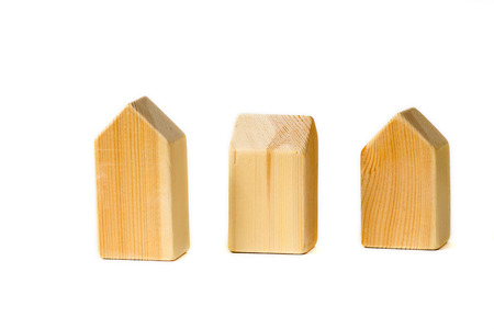 wooden home building blocks Stock Photo