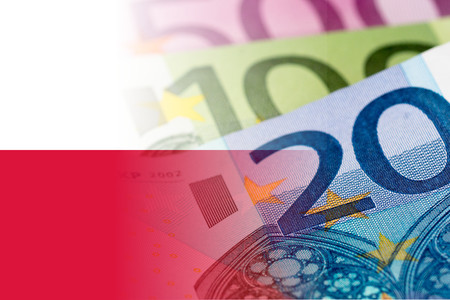 poland flag with euro banknotes
