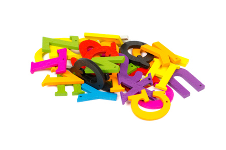 colorful wooden letters heap