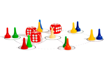 social network communication concept with red dice