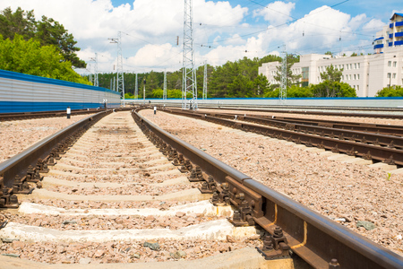 railroad tracks, low point of view Stock Photo