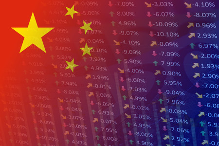 china flag with indicators and chart