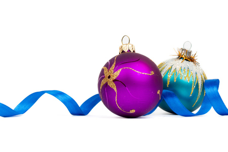 blue and purple xmas balls on white background