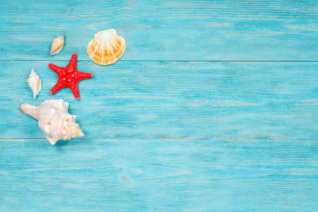 red starfish and sea shells over wooden rustic planks Zdjęcie Seryjne