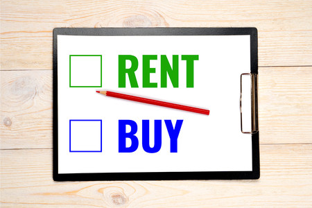 rent buy choice concept, select from two options