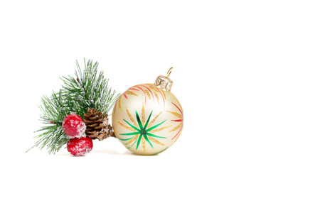christmas decorations isolated on white background, new year template Zdjęcie Seryjne