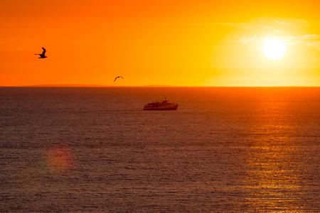 sunset with boat and birds silhouettes Zdjęcie Seryjne