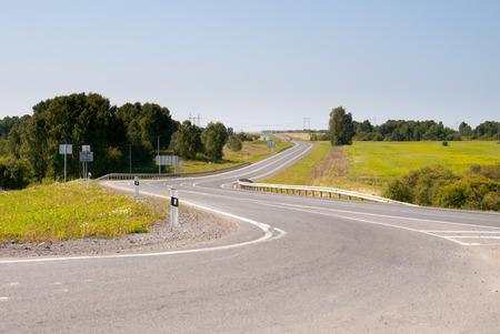 curved country asphalt road