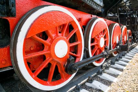steam train steel red wheels
