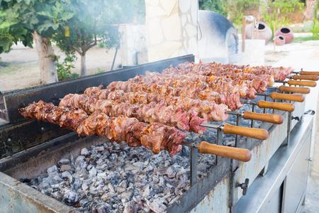juicy pieces of meat on skewers over charcoal Zdjęcie Seryjne