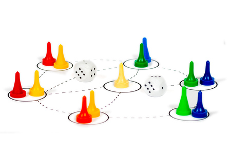 social network communication concept with white dice