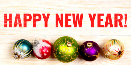 Happy New Year, banner with christmas balls
