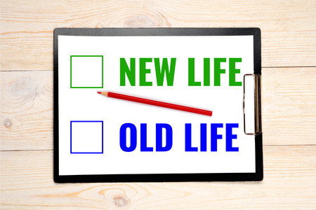 new life old life choice concept, select from two options Zdjęcie Seryjne