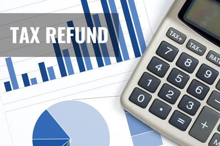 tax refund, rise trend report business concept
