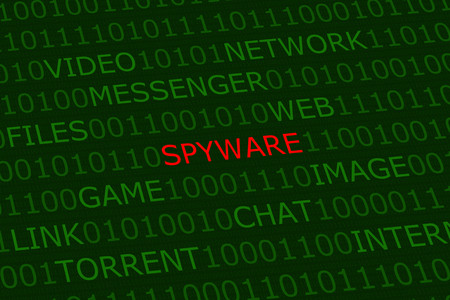 spyware, red alert among user activities terms on green digital background