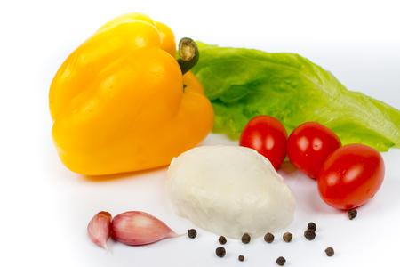 mozzarella, tomatoes, garlic and sweet pepper, salad ingredients
