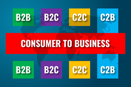 C2B, consumer to business concept over world map