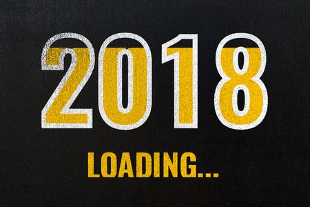 2018 loading, chalk drawing on blackboard