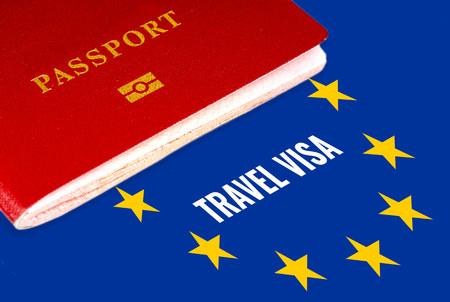 travel visa, white text over eu flag and passport Zdjęcie Seryjne