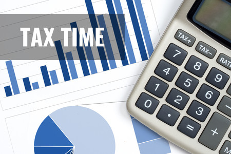 tax time, rise trend report business concept