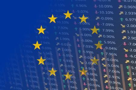 eu flag with indicators and chart
