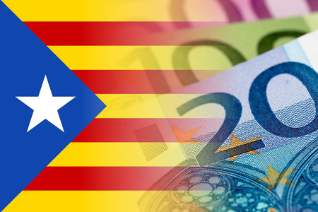 catalonia flag with euro banknotes