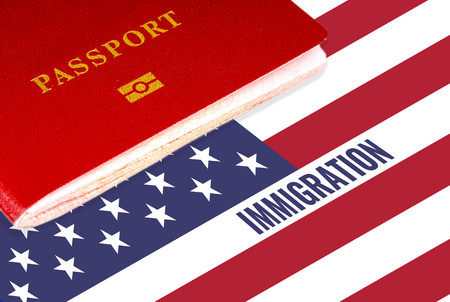 immigration, text over us flag and passport
