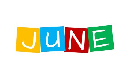 june, text in colorful rotated squares