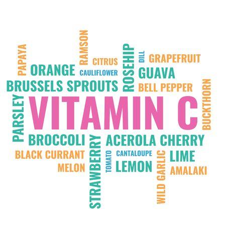 Nuage d'aliments de vitamine c, illustration sur fond blanc