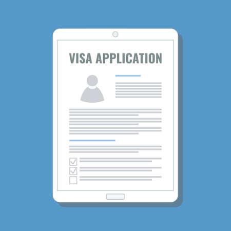 online visa application on digital tablet screen, flat design