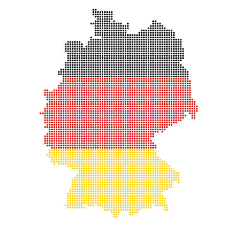 germany dotted map painted flag colors