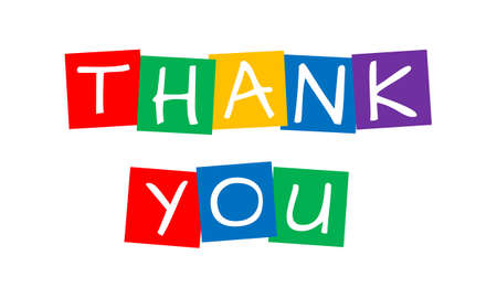 thank you, vector letters in squares with vibrant colors