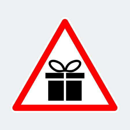 gift box, warning triangle road sign