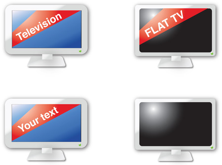 Flat TV icons Vector