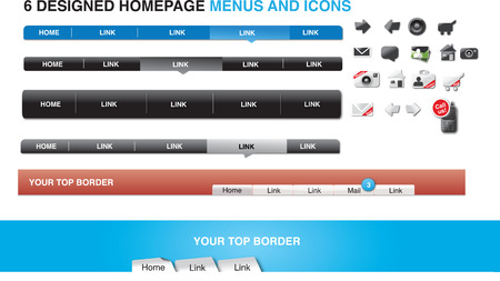 Six designed homepage menus and icons