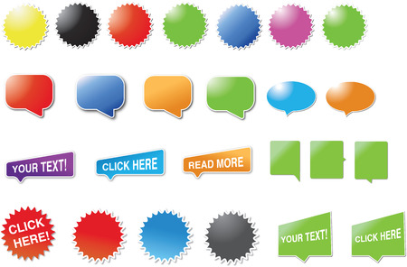 Mixed set of candy stickers and speech bubbles