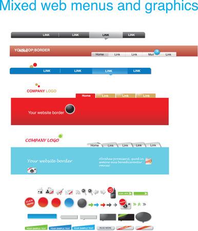 Mixed web menus and graphics Illustration
