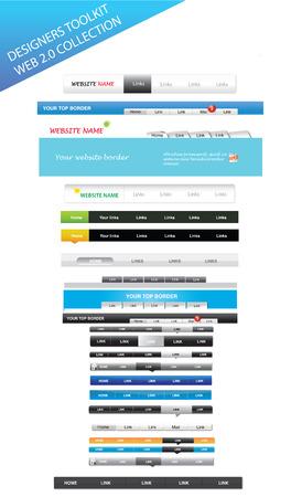 Designers toolkit - web 2.0 menus Illustration