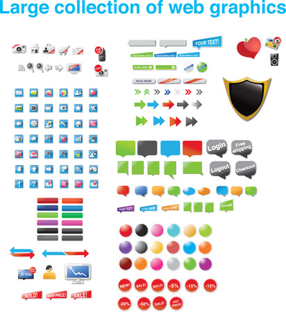 Large collection of web graphics Illustration