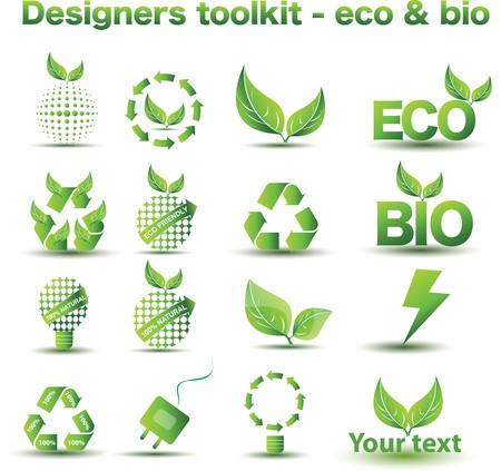 leafs: Set di icone di eco e bio Vettoriali