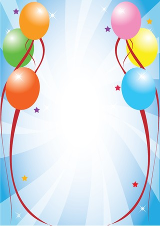 colored balloons: Postcard template