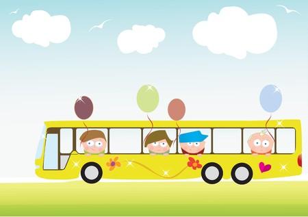 Bus with children Stock Vector - 9757272