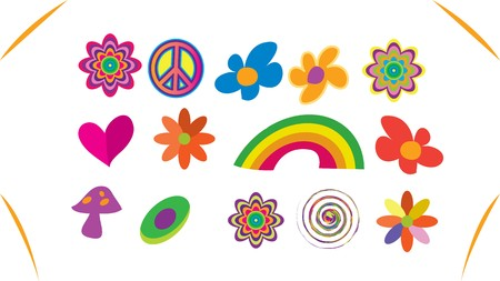 60s hippie: Hippie icon set