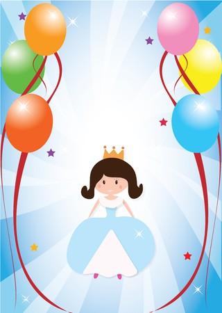 Birthday card with a princess Vector