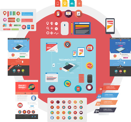 Flat web graphic collection