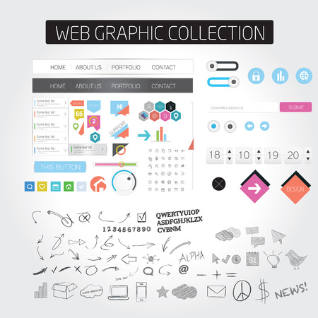 web browsing: Flat web icons Illustration
