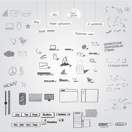 pencil sketch: Large collection of hand drawn and cutout symbols